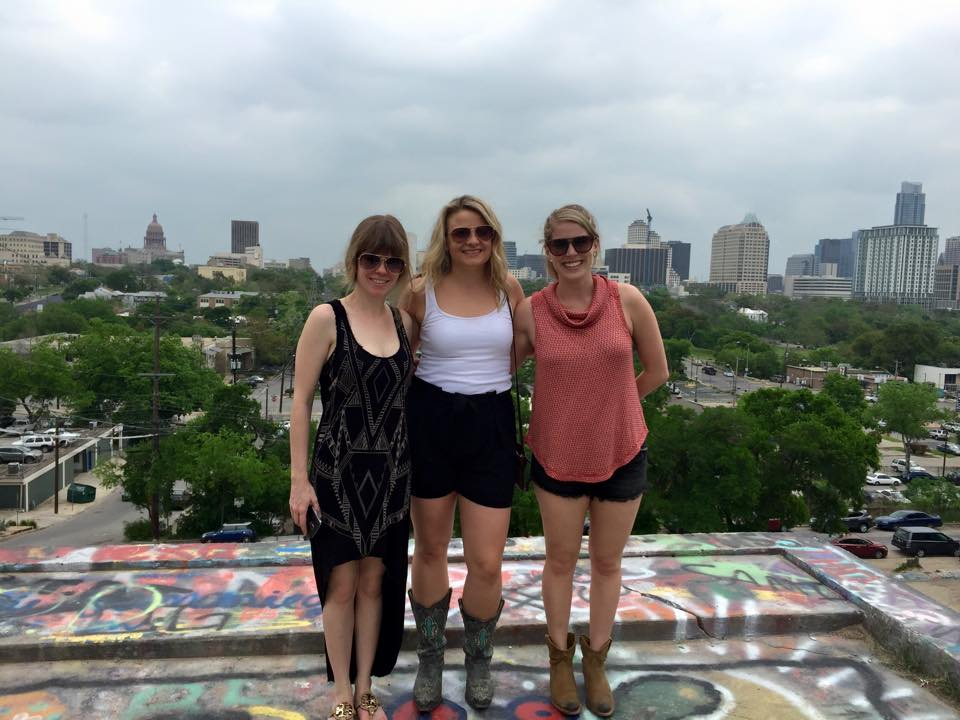 with Shana and Kate overlooking Austin.
