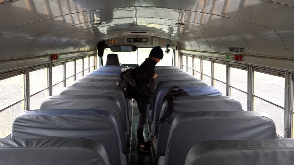 On the Arctic Adventure school bus, heading to the glacier.
