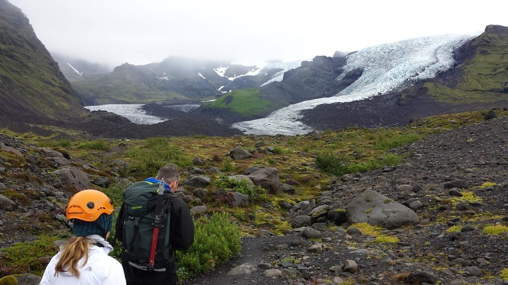Climbing the glacier.